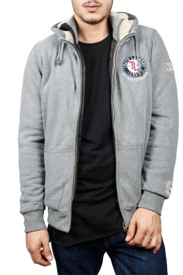 Tokyo Laundry Bow zip through lined hoodie grey marl