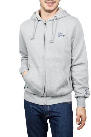 Tokyo Laundry Wolfe point zip through sherpa lined hoodie grey marl
