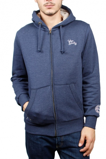 Tokyo Laundry Wolfe point zip through sherpa lined hoodie blue marl