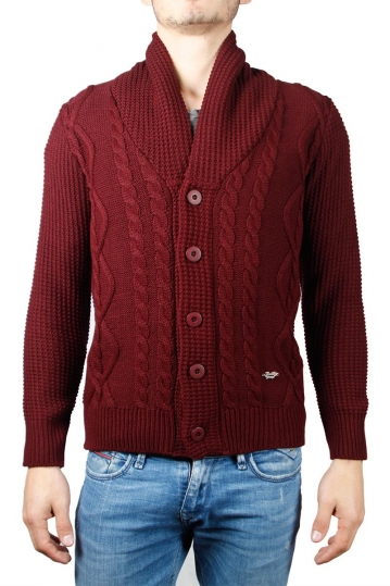 3PLAY shawl collar cardigan bordeaux