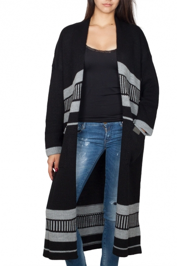 Agel Knitwear longline cardigan black with pockets
