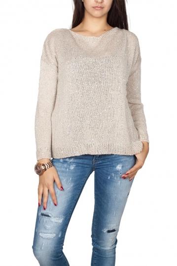 Agel Knitwear sequin plunge V back jumper ecru