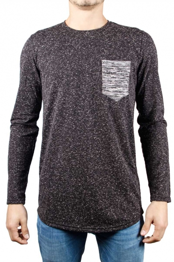 Men's speckled long sleeve tee black