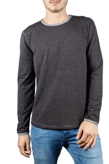 Men's striped long sleeve tee black