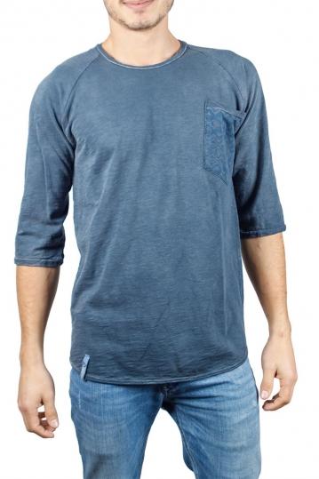 Best Choice ανδρική μπλούζα μπλε πετροπλυμένη με τσεπάκι