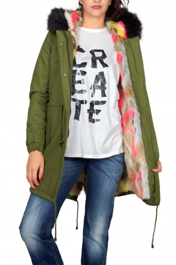 Women's parka khaki with black and multi faux-fur