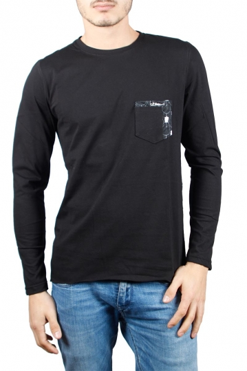 Men's pocket long sleeve tee black