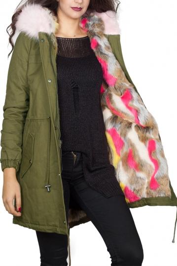 Women's parka khaki with multi faux-fur