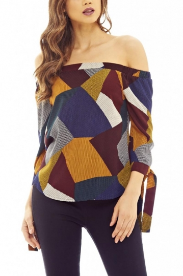 Multi-colour bardot top with 3/4 sleeves