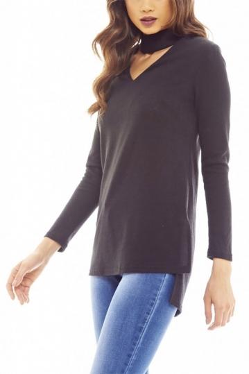 Longline choker neck knitted top black
