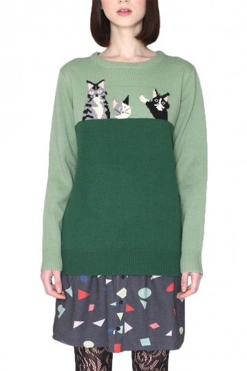 Pepaloves two-color green jumper cats