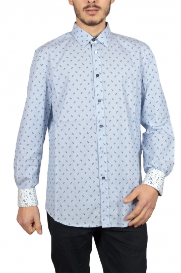 Missone pinstripe shirt with floral embroidery