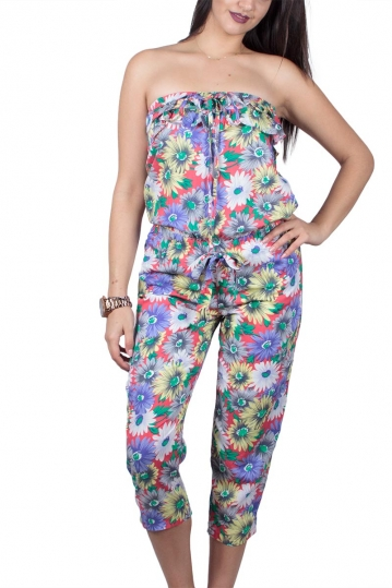 Strapless jumpsuit in floral design