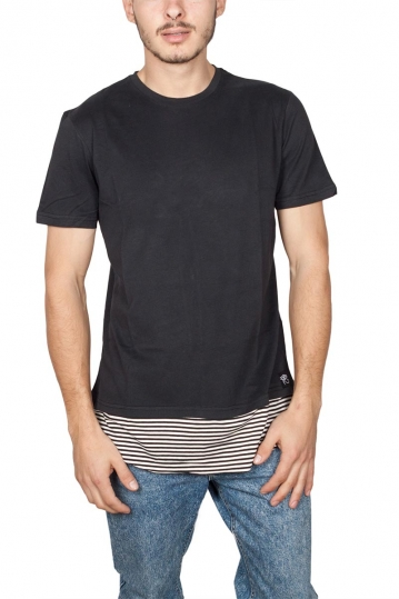 Oyet longline T-shirt black with striped layer