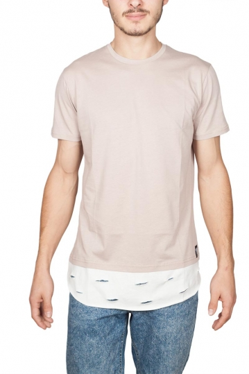Oyet longline T-shirt ecru with distressed layer