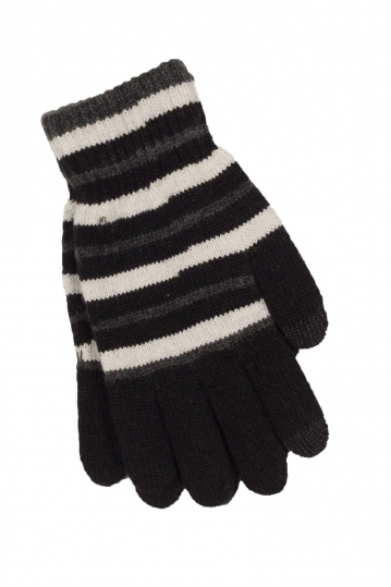 Touch knitted glove black-grey-white