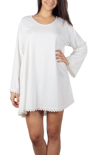 Rag lace detail A-line dress white