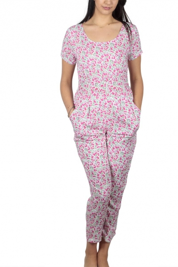Short sleeve jumpsuit white with pink floral