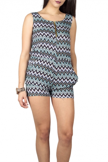 Sleeveless playsuit black-aqua