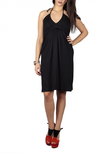 Rag open back empire dress black
