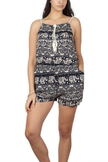 Monochrome ethnic print playsuit