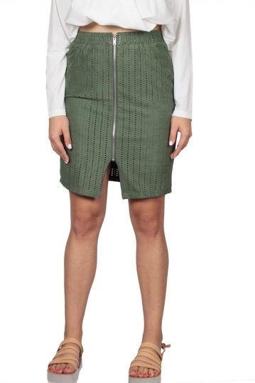 Soft Rebels Audrey perforated skirt aloe green