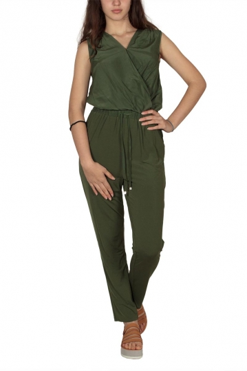Soft Rebels Me wrap jumpsuit aloe green