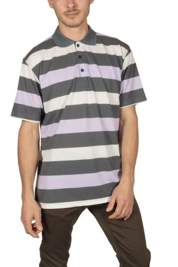 Men's oversized stripe polo shirt grey-lila