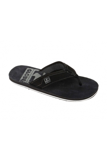 Globe Base leather flip flops black