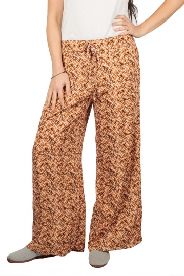 Women's wide leg printed pants orange