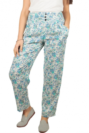 Women's blue floral print pants