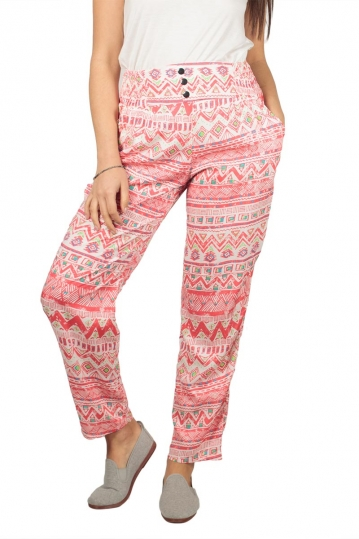 Women's ethnic print pants red