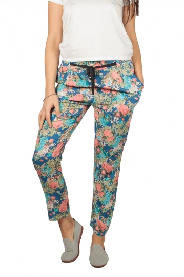 Women's cigarette trousers with retro print