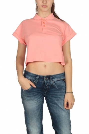 Bellfield women's crop polo shirt in salmon