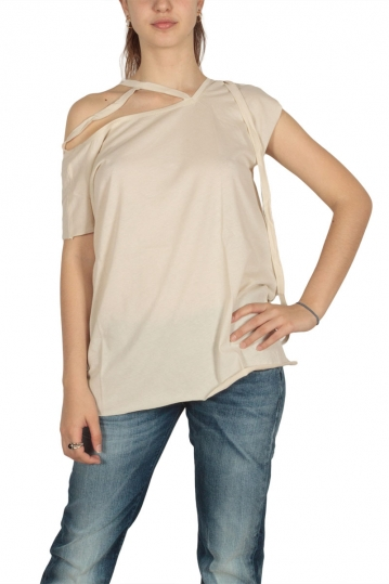 Lotus Eaters Acre cold shoulder detail top ecru