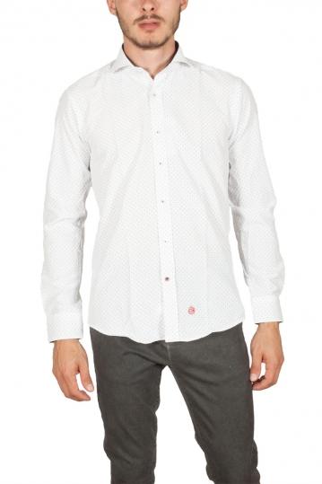 Miitos ανδρικό πουκάμισο λευκό με μπλε πουά