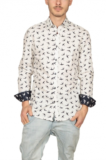Missone men's shirt white with black swallows print