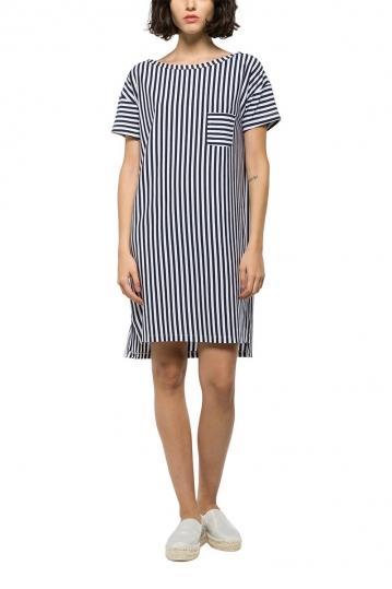 Replay striped jersey dress white-blue