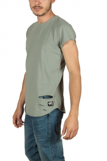 Oyet men's T-shirt khaki with distressed detail