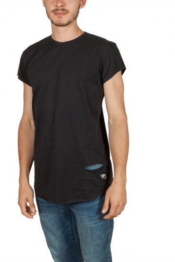 Oyet men's T-shirt black with distressed detail