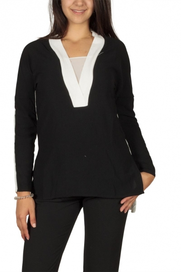 Ryujee Tyl long sleeve blouse black-off white