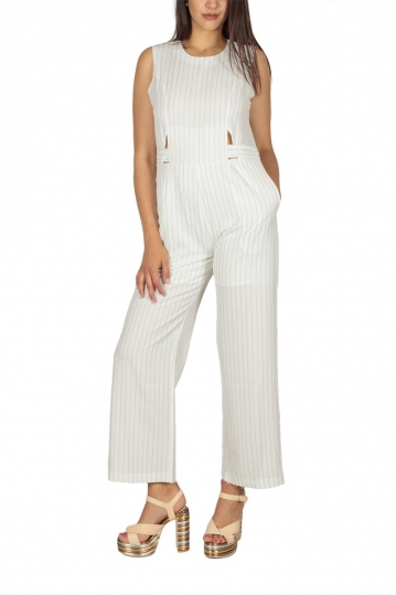 Ryujee Odile striped jumpsuit white