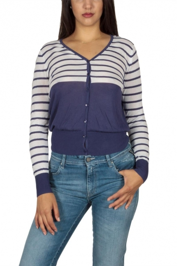Ryujee Pepper viscose striped cardigan navy