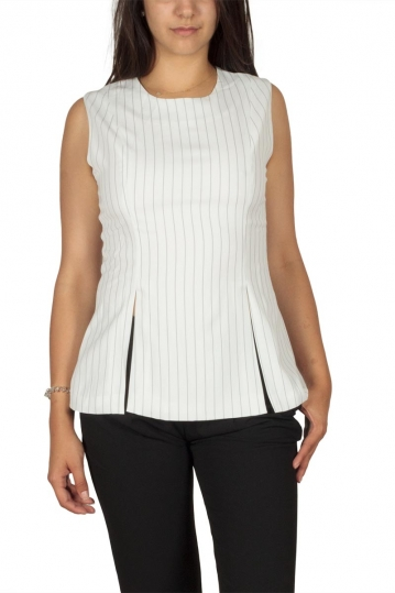 Ryujee Tessa sleeveless striped blouse white