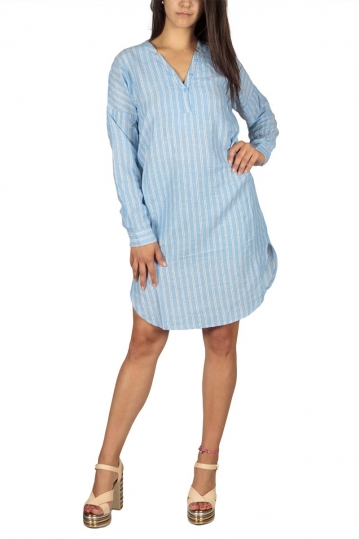 Soft Rebels Delta linen striped dress blue