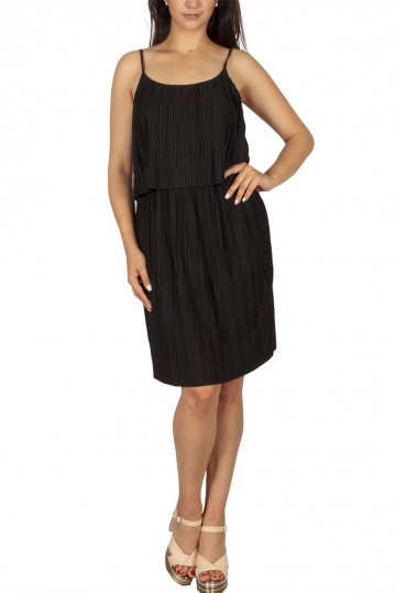 Soft Rebels Lea plisse strappy dress black