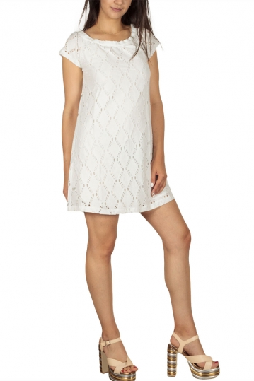 Soft Rebels Side mini lace dress white