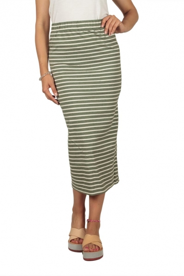 Soft Rebels Stella striped midi skirt aloe green-off white