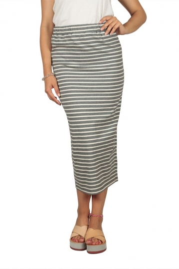 Soft Rebels Stella striped midi skirt grey-off white