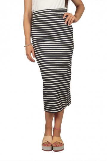 Soft Rebels Stella striped midi skirt night sky-off white
